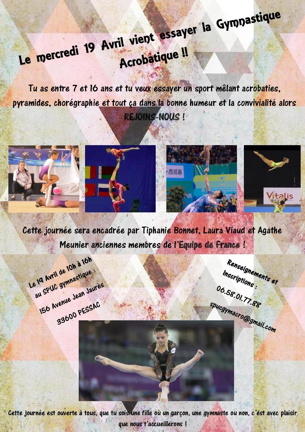 Journée porte ouverte en Gymnastique Acrobatique au SPUC PESSAC, mercredi 19 avril 2017