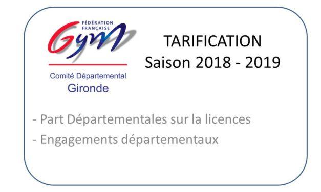 Nouvelle tarification départementale : Part Licence et Engagement